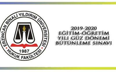 2019-2020 Eğitim- Öğretim Yılı Güz Yarıyılı Bütünleme Sınavı Takvimi