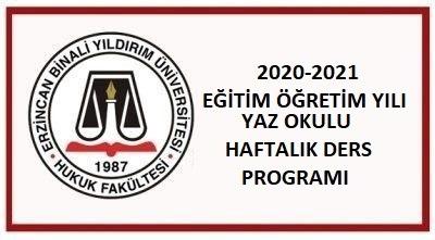 2020-2021 EĞİTİM ÖĞRETİM YILI YAZ OKULU HAFTALIK DERS PROGRAMI