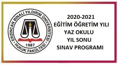 2020-2021 EĞİTİM ÖĞRETİM YILI YAZ OKULU YIL SONU SINAV PROGRAMI